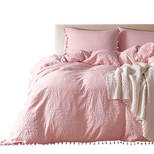 HOTNIU Bettbezug-Set mit Pom-Fring-Design, 100% superweiche Mikrofaser, 2-Teiliges Bettwäsche-Set (1 Bettbezug + 1 Kissenbezüge) mit Reißverschluss, Rose, King Size (King-size-betten Ensembles)