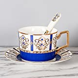 LOYWT European Style Kaffeetasse, kreativer schwarzer Tee Cup, English Afternoon Tea, Untertasse und Löffel Büro, Türkisch Blau