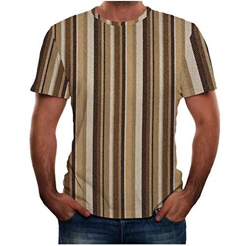 Xmiral Top Camicetta Estate Nuova T Shirt Stampata Full 3D Plus Size Cool Stampa di Uomo (L,4- Cachi)