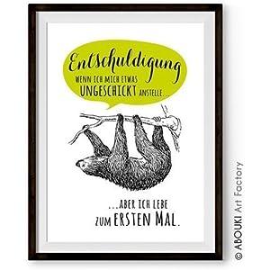 ABOUKI lustiger Kunstdruck - ungerahmt - mit Faultier Motiv, Poster, Fine-Art-Print, Geschenk, Geschenkidee, Druck...