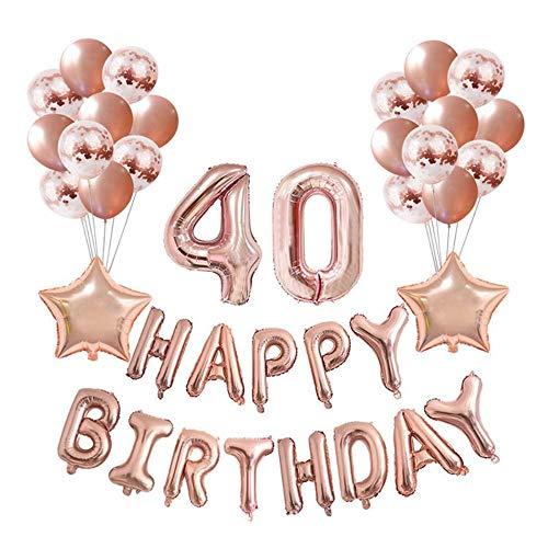 Crazy-M Geburtstag Deko Set Nummer 40 Luftballon Rosegold für Frauen,Geburtstag Party Deko -2 Zahl 40 Aufblasbar Helium Folienballon+13 Happy Birthday Folienballon+ 20 Ballon+ 2 Stern Ballon