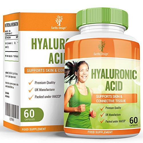 Acide Hyaluronique - Complément à Dosage Maximum pour Hommes et Femmes - Convient aux Végétariens - 60 Capsules (2 mois d'approvisionnement) de Earths Design