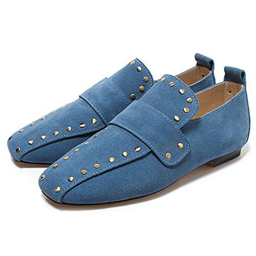 Damen Pumps Kuhleder Samt Flach Schuhe Lederschuh Rutsch mit Nieten Blau