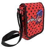 Bolso Bandolera Mini Ladybug para Niña – Practica y Pequeña con Mariquitas - Mochilla Roja con Puntos Negros - Miraculous: Las Aventuras de Lady Bug y Cat Noir - Dimensiones: 19x15,5x4 cm - Perletti