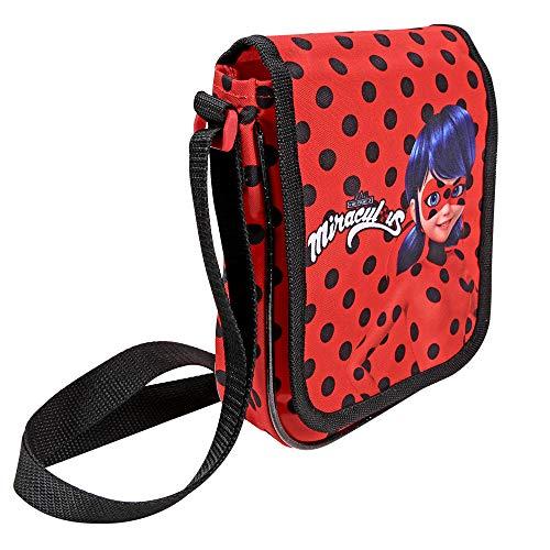PERLETTI Kinder Messenger Bag Miraculous Ladybug und Cat Noir für Mädchen - Lady Bug Flache Umhängetasche für Kinder - Schwarze Tupfen - 19x16x4 cm