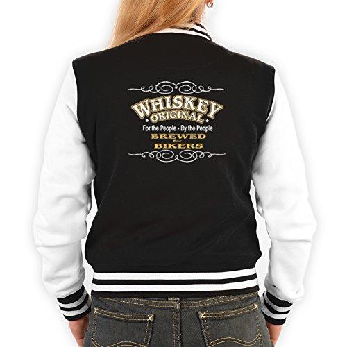 Lady Jacke ::: Whiskey - Brewed for Bikers ::: mit USA Motiv auf der Rückseite Schwarz