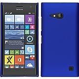 PhoneNatic Case für Nokia Lumia 730 Hülle blau gummiert Hard-case + 2 Schutzfolien