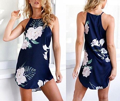 WOCACHI Damen Kleider Mode Frauen Ärmellos O-Ansatz gelegentliche Blume druckte asymetrisches Slim Fit Partei Kleid Minikleid Dunkelblau