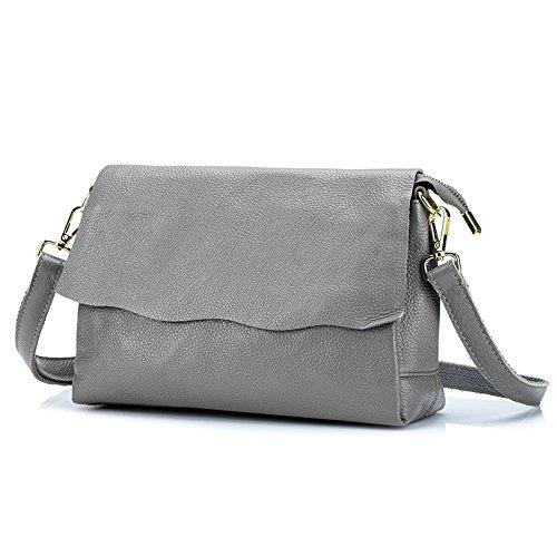 Mefly Sono Il Primo Strato Di Pelle Borsa A Tracolla Messenger Bag Semplice Nuova All-Match Grigio gray
