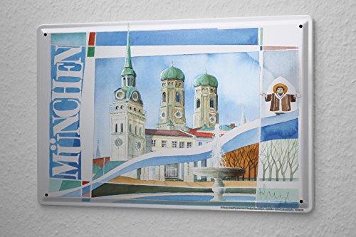 plaque-en-metal-emaillee-galerie-peintre-franz-heigl-image-munich-frauenkirche-repre-poster