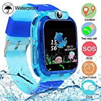 Kids Tracker Smart Watch Phone, Touch Screen Mobile Smart Watches for Girls Boys, Smartwatch Waterproof, SOS, Game, Alarm Clock for Kids (Blue)