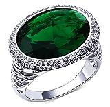 18k Vergoldet Ringe, Damen Hochzeit Bands Weiß Oval Blau Rhinestein Inlay Gr.60(19.1) Epinki