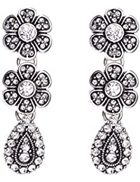 Young & Forever Valentine Gifts Special Floral Odyssey Elegant Silver Plated Fancy Party Wear Earrings For Girls...