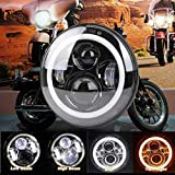 FUJI 7 Inch LED Headlight Dual Color DRL Ring for Royal Enfield Bike