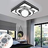 Deckenlampe LED Deckenleuchte 48W Wohnzimmer Lampe Modern Deckenleuchten Kueche Badezimmer Flur Schlafzimmer (Schwarz, 48W-Dimmbar)