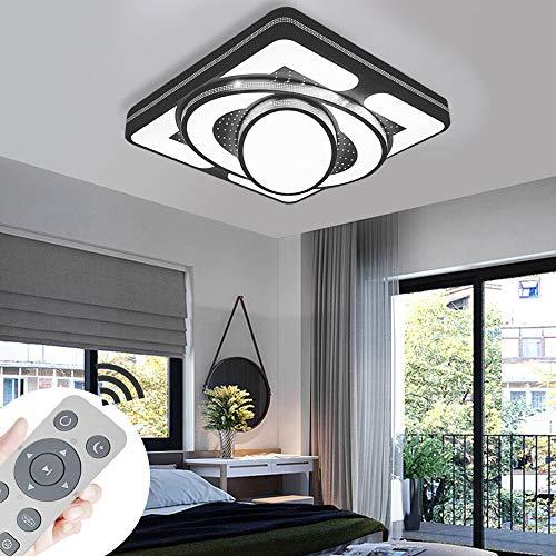 Deckenlampe LED Deckenleuchte 48W Wohnzimmer Lampe Modern Deckenleuchten Kueche Badezimmer Flur Schlafzimmer (Schwarz, 48W-Dimmbar) - Schwarz-badezimmer-lampen