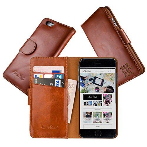 """Luxus Echtes Leder iPhone 6S iPhone 6 Ledertasche Kompakt Brieftasche Hülle mit """"Doppelt Schild"""" Schutz und Gegenüber Magnetverschluss um vermeiden Kreditkarte Korruption. Die Rila in braun"""