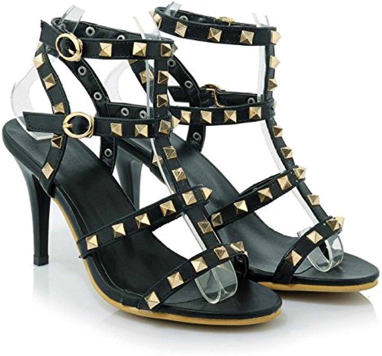 ALBOC Femmes Peep RoFemme Chaussures Rivet Peep Femmes Toe Haute Strappy Pompes  s Boucle De Mariage Robe De Soirée Stiletto...B07CZJMWLSParent 87db09