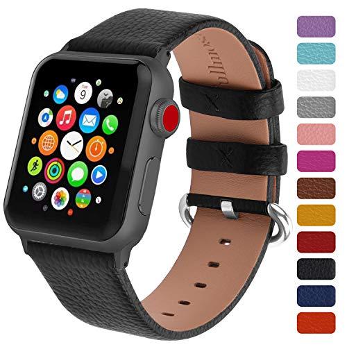 Fullmosa Klassische Litichi Leder Watch Armband Kompatibel für Apple Watch Series 5/4/3/2/1, 12 Farben iWatch Armband geeignet für Männer und Frauen mit Edelstahlschliesse 42mm, Schwarz