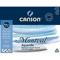 "\'Canson 200006533AQ Montval Fein Aquarelle, 300g/m², 12hojas por bloque ""encolado alrededor, 19x 24cm, color blanco"