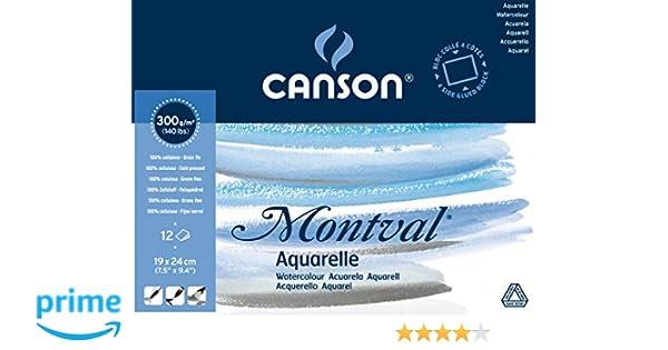 12 fogli Blocco Linea Acquerello Montval Canson 300 g//mq 24x32 cm 200807319
