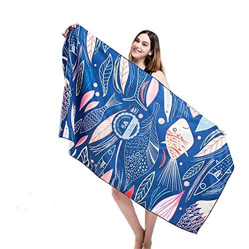 Serviette de plage Séchage rapide Surdimensionné en serviette de bain en microfibre Clairance Carré Adultes Plage de pique-nique Couverture Tapis de yoga Compact Super absorbant avec pochette de voyag