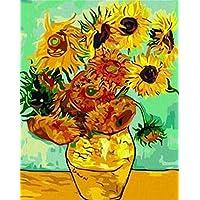 Bricolaje decoración del hogar de la lona Pintura al óleo digital por los kits del número en todo el mundo la famosa pintura al óleo del florero con doce girasoles de Van Gogh 16 * 20 pulgadas.
