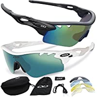 CVC Airwrap POLARISED Pro Sports Cycling Running Golf Sunglasses Set with 5 Interchangeable Lenses (Stealth Nero Opaco)