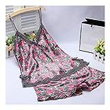 HAOLIEQUAN Sommer-Silk Satin-Pyjama-Satz-Frauen-Weiblicher Blumenschlaf Gesetzte Damen V-Ausschnitt Spaghetti-Bügel-Kurzschlüsse Nachtwäsche Homewear, Graues Rot, XL