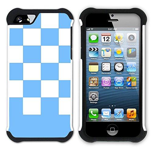 Graphic4You Kariert Muster Design Hart + Weiche Kratzfeste Hülle Case Schale Tasche Schutzhülle für Apple iPhone SE / 5 / 5S (Lila) Hellblau