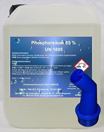 5 Ltr. Phosphorsäure 85% H3P04 Kalklöser Rostumwandler Urinsteinlöser Rostlöser PE 3 € / Ltr.