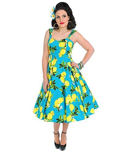 e Style Zitrone Sommer Rockabilly Kleid Blau - Blau, UK 12 (M) (Zitrone 50er Jahre Kleid)