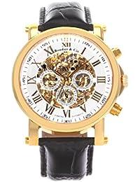 Boudier & Cie SK14H041 - Reloj analógico de pulsera para hombre (esqueleto mecánico, automático), correa de cuero negra