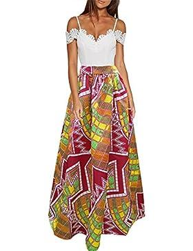 CLOCOLOR Falda Larga Plisada Encaje con Estampado Exótico Africano Para Mujer Talla Grande Casual Cintura Alta...