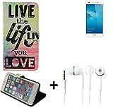 Pour Smartphone Huawei Honor 5C Case 360° Cover 'live the life you love' Fonction Stand Wallet BookStyle Housse Protection Sac Étui Couvervle pour Huawei Honor 5C + Écouteurs meilleur prix, la meilleure performance - K-S-Trade(TM)