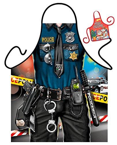 Tini - Shirts Polizei Motiv Kochschürze Uniform Polizist Kostüm Schürze : Police Man - Weihnachtssgeschenk-Set - Deko Geschenk Flasche Weihnachten