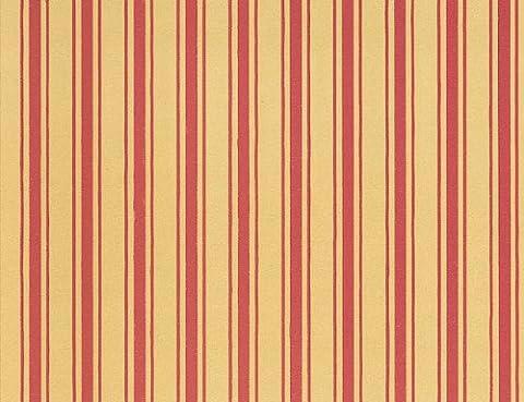 Tapete, orange-rote Streifen für das Puppenhaus