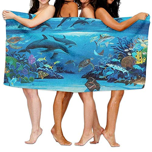 rwwrewre 31x51 Inch High Absorbency Bath Towel Dolphin Clud Seaweed Large Bath Sheet Lightweight Quick Drying Soft for Swimming Pool Yoga Unique Design