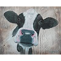 Black & White Cow Portrait Wooden Sign Plaque Painting by Sean Aherne Art