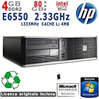 PC RICONDIZIONATO DESKTOP HP COMPAQ DC7800 SFF INTEL CORE 2 DUO E6550 2.33GHZ/4GB/HDD 80GB/SVGA Intel GMA 3100/DVD COMBO/LAN 10/100/1000Mbit/WIN 7 HOME 64Bit