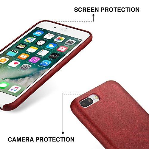 Cover Iphone 8, Iphone 7 Pelle Custodia, MH Designs Vintage Series Di Lusso Ultra Sottile Morbido Pu Pelle Custodia Case Cover Per Apple Iphone 7 / Iphone 8 4,7 Pollici - [Rosso] Rosso