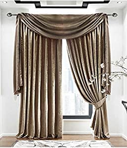 "Plain Velvet Mink Beige Lined 66"" X 72"" - 168cm X 183cm Pencil Pleat Curtains from Curtains"