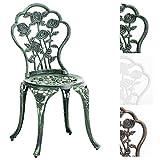 CLP Gartenstuhl Sharma im Jugendstil | Aluminiumstuhl mit Verstellbaren Standfüßen | In Verschiedenen Farben erhältlich Antik Grün