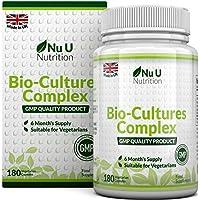Bio-Cultures 180 Capsules (6 Month Supply) | Vegetarian Multi Strain | High Strength Cultures Includes Lactobacillus Acidophilus & Bifidobacterium | Capsules not Tablets by Nu U Nutrition