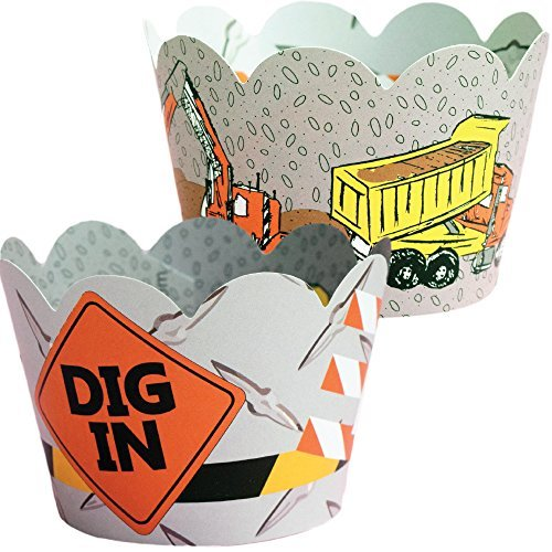 Construction Theme Cupcake Wrappers, Dump Truck Design, Confetti Couture Party Supplies, 36 Wraps by Confetti Couture Party Supplies