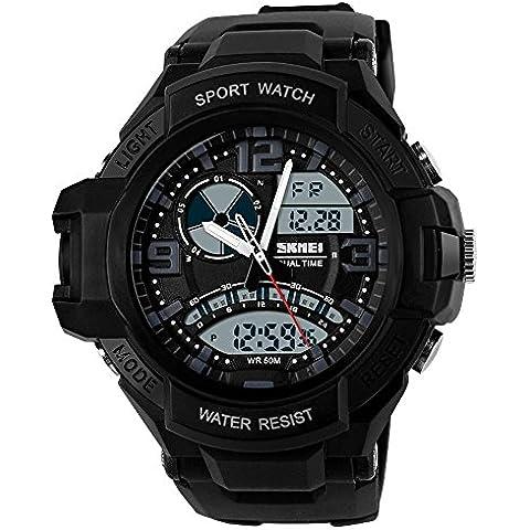 GL Uomo orologio digitale Sport Watch gomma cinturino doppio movimento notte vista LCD Light, Bianco
