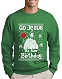 Green Turtle T-Shirts Ugly Christmas Sweater Go Jesus It's Your Birthday Sweatshirt X-Large Grün