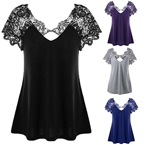MERICAL Womens Fashion V-Neck Plus Size Lace Short Sleeve Trim Cutwork T-Shirt Tops
