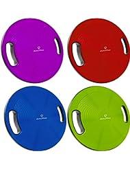 Planche d'équilibre »Gyro«/ Idéale pour les exercices sportifs et de remise en forme / Physiothérapie. Accessoire d'entraînement permettant d'améliorer la coordination et l'équilibre. Utilisable aussi pour les exercices de rééducation / Planche de coordination pour le fitness et pour s'amuser / Diamètre env. 40cm et hauteur env. 10cm / rouge