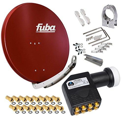 FUBA 85cm für 8 Teilnehmer (Direktanschluss) Digital SAT Anlage DAA850R + Octo LNB schwarz 0,1dB FULL HDTV 4K 3D + 16 Vergoldete F-Stecker und F- Montageschlüssel gratis dazu